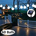 Solar Globe String Lights, 33 Feet 60 Crystal Balls Waterproof LED Fairy Lights, 8 Modes Outdoor Starry Lights Solar Powered String Lights, Decorative Lighting for Home, Garden, Festival (Cool White)
