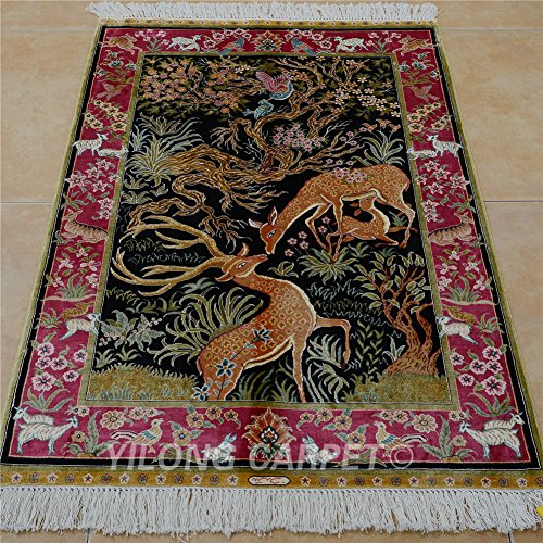 Rugs Silk Persian Qum - Yilong 2.7'x4' Handmade Oriental Silk Rug Persian Tree of Life Tapestry Hand Knotted Home Wall Hanging Carpet (2.7 Feet by 4 Feet, Black & Pink) 0526