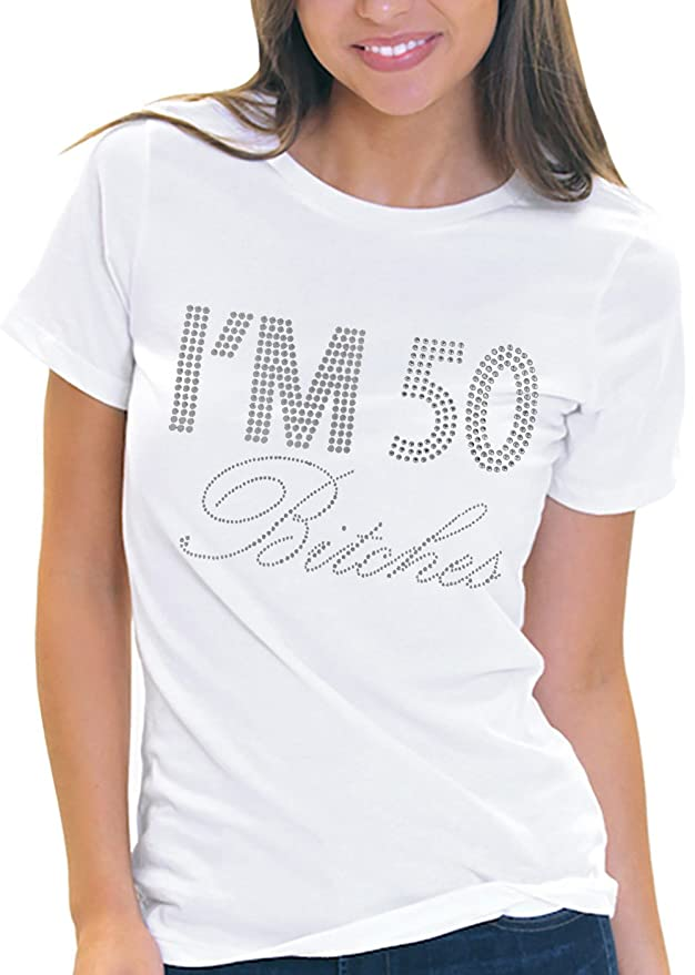 Com I M 50 Es Rhinestone Women S 50th Birthday It My T Shirt
