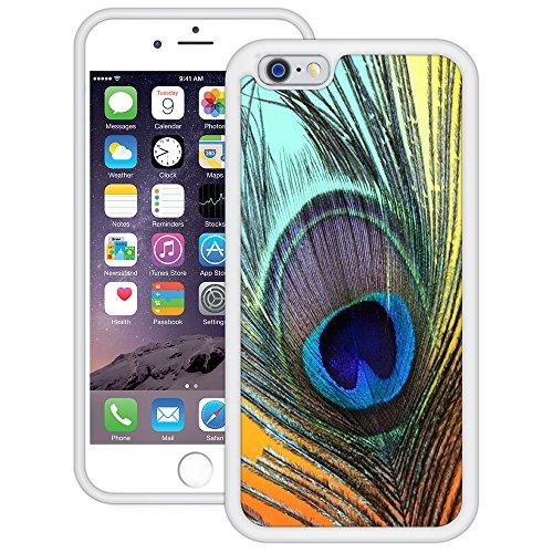 Pfauenfeder | Handgefertigt | iPhone 6 6s (4,7') | Weiß TPU Hülle