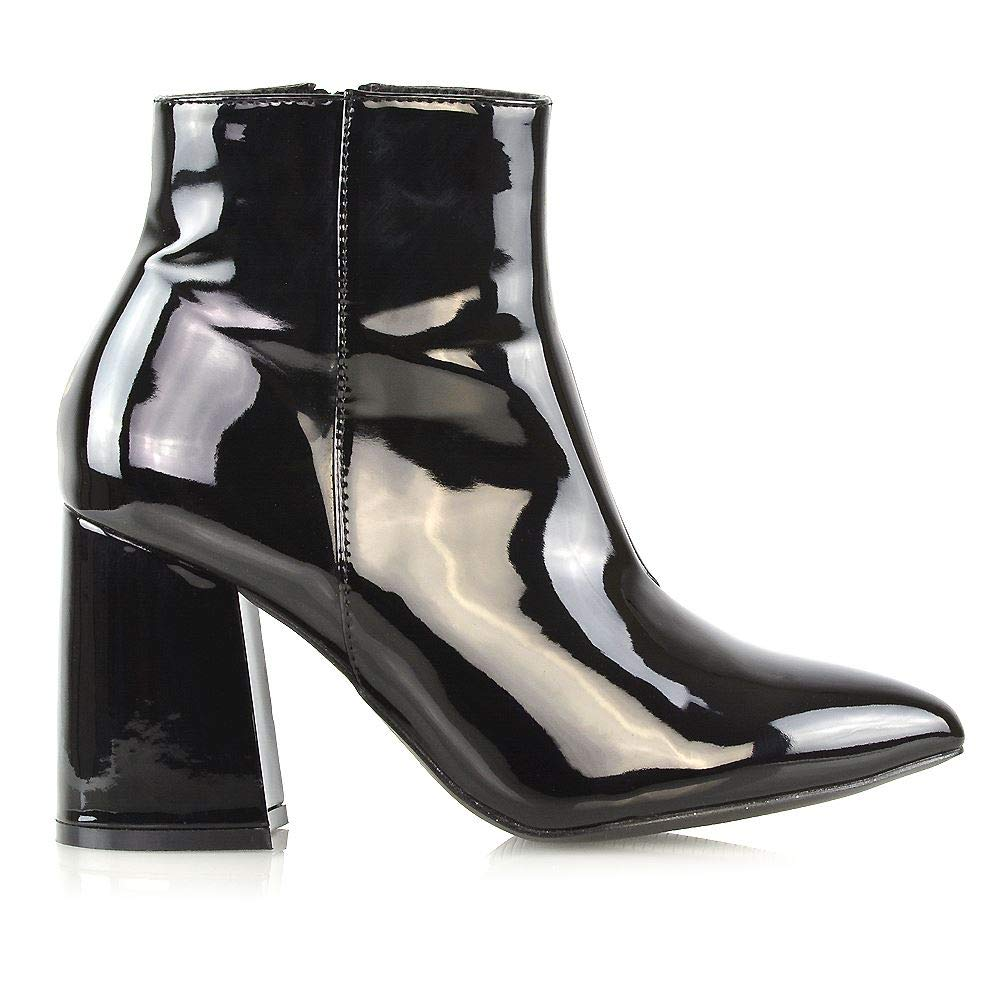 Womens Pointed Ankle Boots Ladies Block Mid High Heel Zip Up Booties Shoes Size