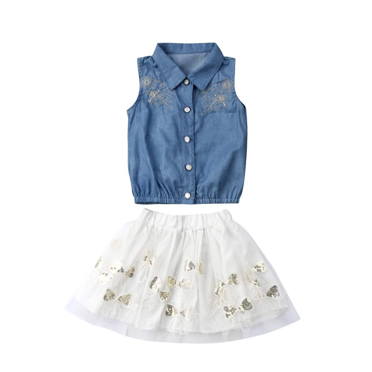 Toddler Kids Girls Collar Sleeveless Denim Shirt Tulle Lace Skirt Set 2Pcs Summer Clothes Sets