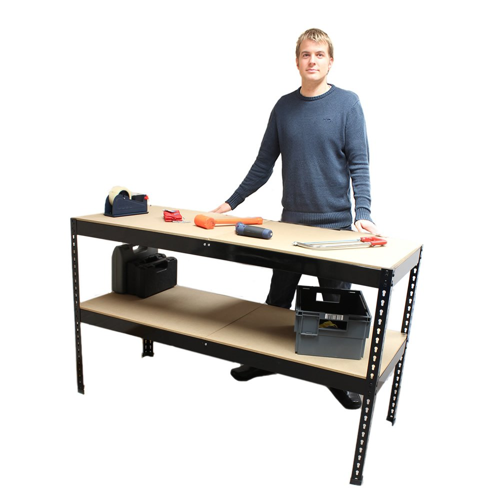 Black 150cm Bench Heavy Duty Metal Garage Work Bench Station with 100 Kg Weight Capacity (Depth  60cm, Height  90cm) (bluee, 90cm Bench)
