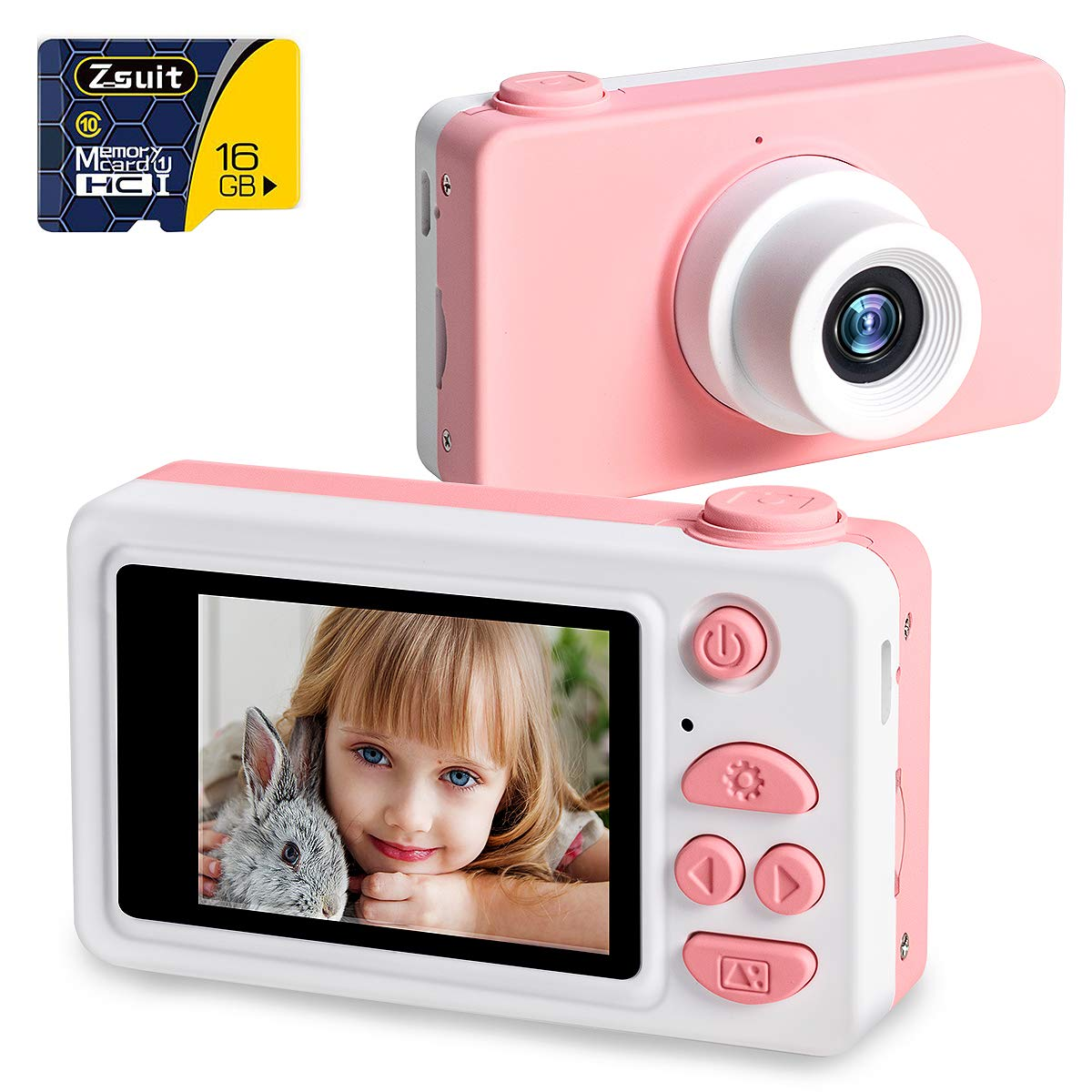 NEKAN Kids Digital Camera for Girls 8MP 1080P HD Photo//Video Camera Rechargeable Childrens Camera with 2.0 inch LCD Screen and 16GB SD Card Birthday Festival Toy Gift Giraffe Case
