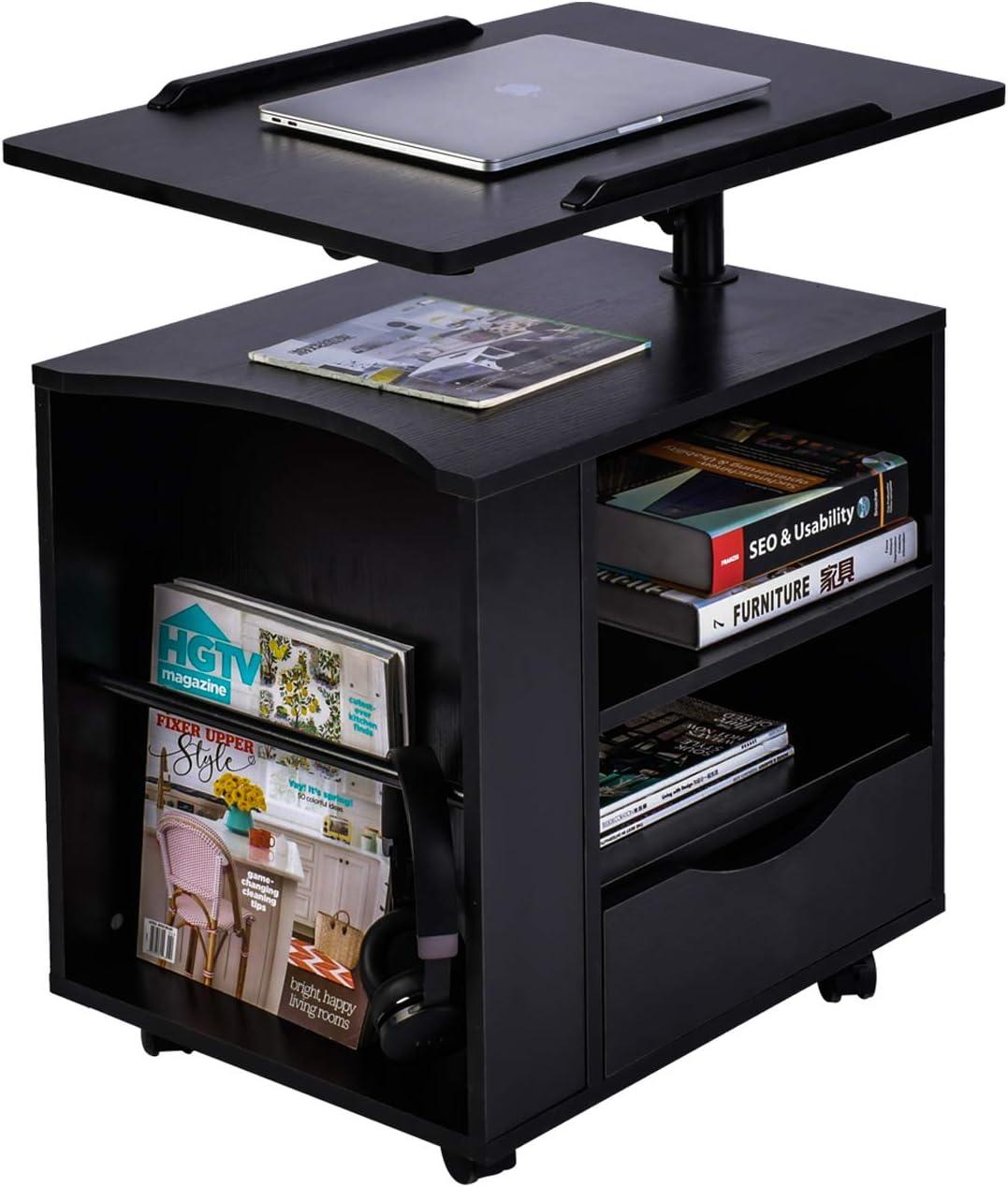 AIZ Bedside Desk for Laptop, Adjustable Bed Desk Overbed Table Rolling Nightstand with Storage Drawer, Laptop Desk with Swivel Top,Black (Right Side)