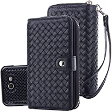 TabPow Galaxy J7 V Case, Galaxy J7 Prime Case, Galaxy J7 Perx Case, Weave Zipper Cash Slot, Card Slots, Button, Leather Wallet Case Cover With Detachable Case For Galaxy J7 V (2017) - Weave Black