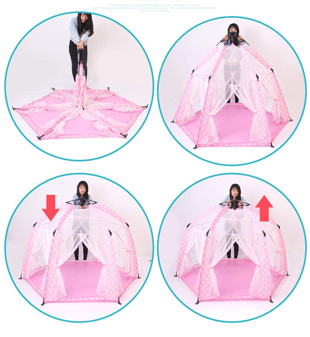 XIAO&Z Prince or Princess Children Kids Play Tent House Indoor or Outdoor Garden Toy House Play House Tent Boys Girls,Pink by XIAO&Z (Image #3)