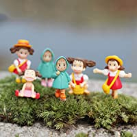 P S Retail Raincoat Doll Cartoon Figurines - 6 Pcs/Set - Multi Color