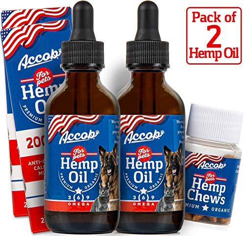 Accob-2-Hemp-Oil-for-Dogs-and-Cats-2000-MG-Separation-Anxiety-Hip-Joint-Pain-Stress-Relief-ArthritisSeizures-Chronic-PainsAnti-Inflammatory-Omega-36-9-Pure-Organic-Calming-Drops
