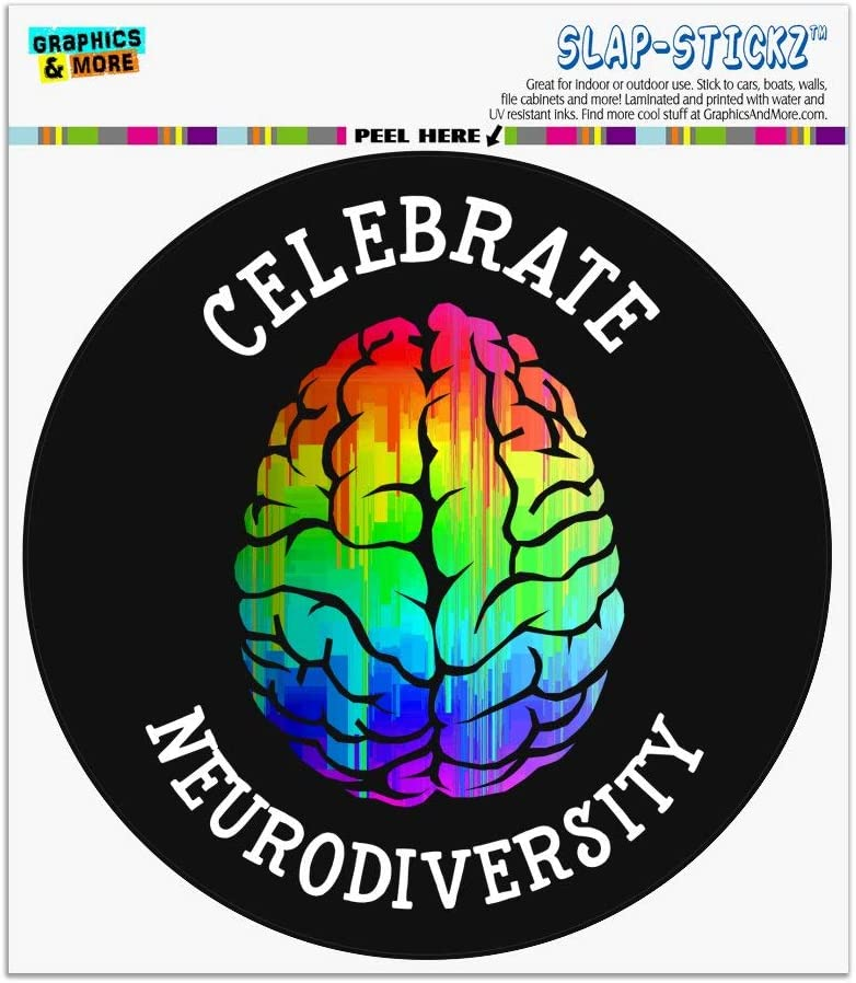 Graphics and More Celebrate Neurodiversity Brain Autism Rainbow Spectrum Automotive Car Window Locker Circle Bumper Sticker