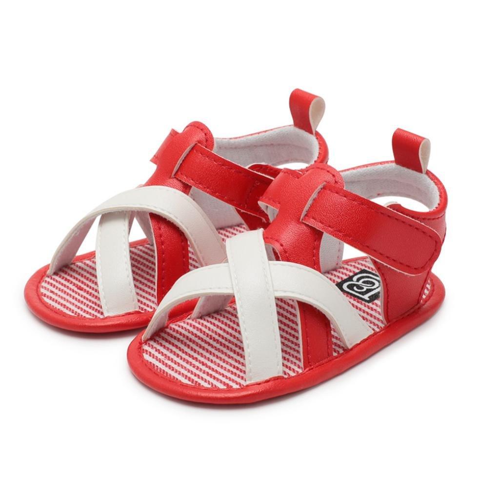 yjydada幼児ベビー男の子子供用ローマベビーベッドシューズソフトソール滑り止めストラップサンダル靴 B07DHD5J82  レッド 13