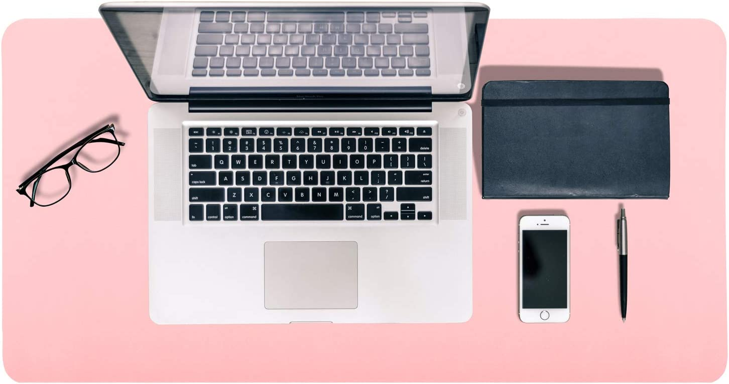 """Office Desk Pad, Mouse Pad,Double-Sided Laptop Desk Mat, PU Leather Computer Mat, Waterproof Desk Writing Pad for Office and Home (Pink/Silver,31.5"""" x 15.7"""")"""