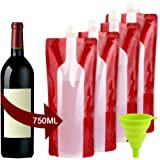 Accmor Wine Bottle Bag Flask, Portable Wine Accessories, Reusable Flexible Collapsible Wine Bottles, Leek Proof Liquid Accessories for Travel Camping BBQ Party Beach Hiking Home Kitchen