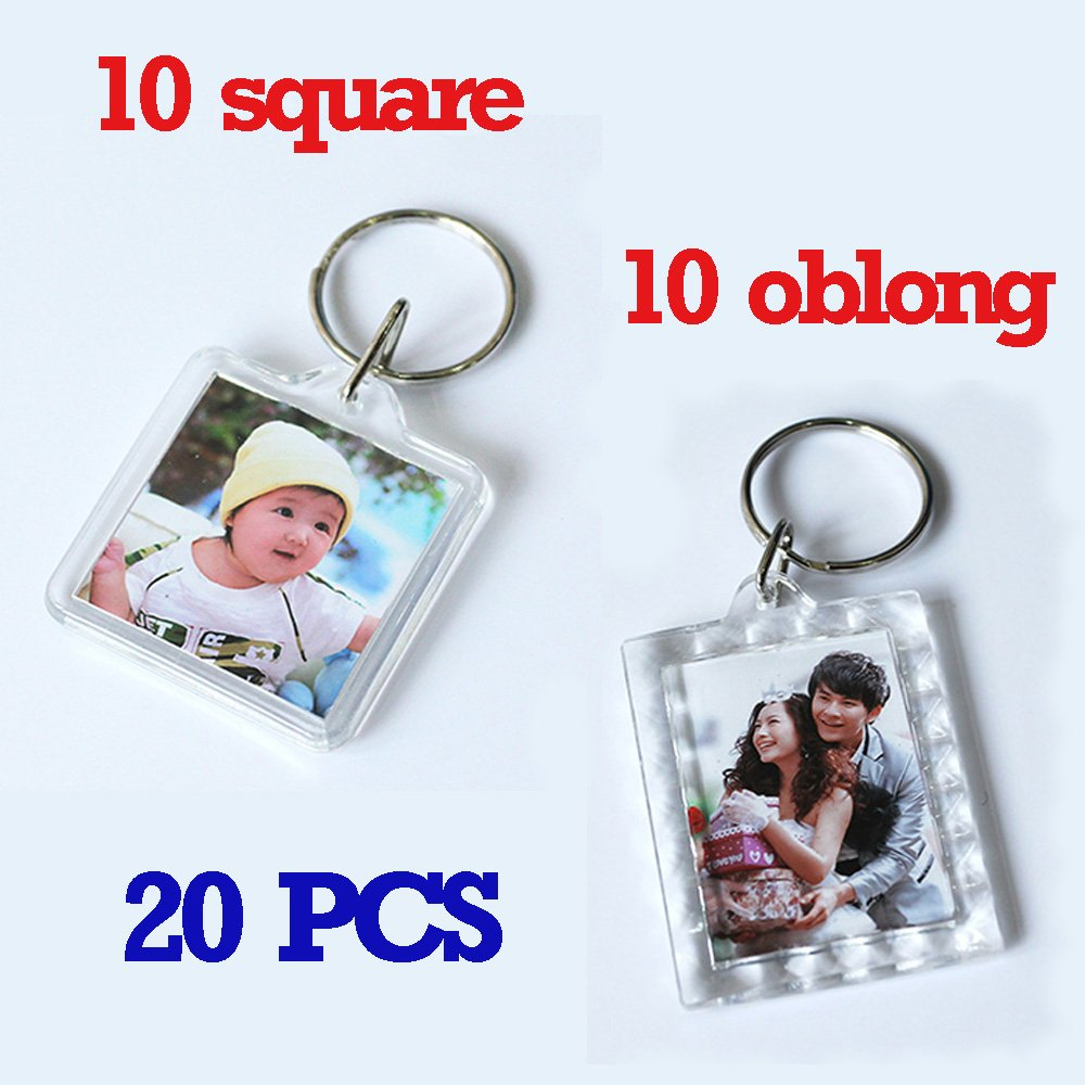 Clear Photo Frame Keychain Set - 20 Pieces Square & Rectangle Shapes Transparent Acrylic Snap-in Personalized Picture Frame Key Holder, Cool Gift for Friends Lovers and Family wonder X