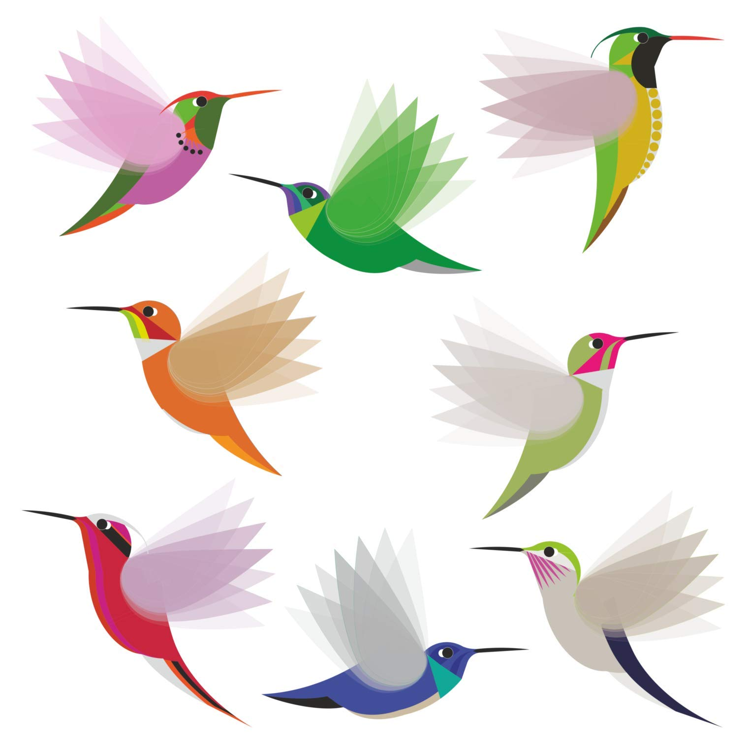 Hummingbirds Window Clings/Decals - Set of 8 Large Illustrated Decorative Glass Static Clings - Helping Prevent Bird Strikes on Windows by Window Flakes