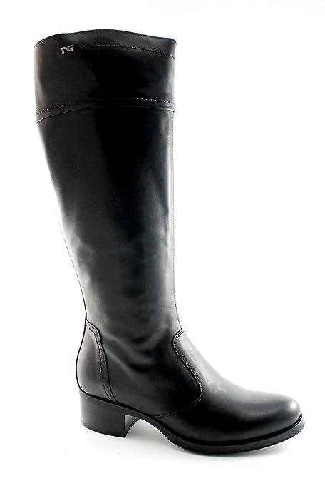 NERO GIARDINI 16450 nero stivali donna pelle zip tacco basso elastico 41   Amazon.it  Scarpe e borse cee510ecadd