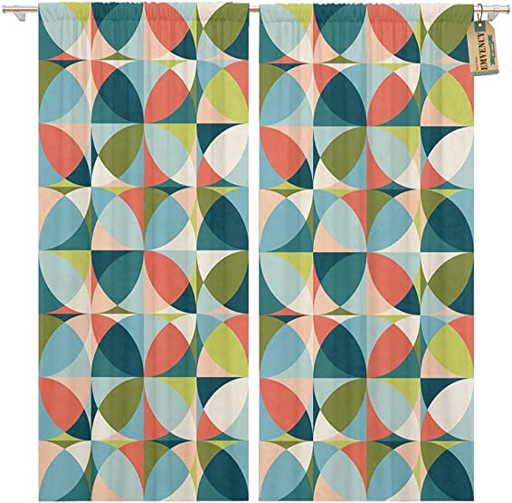 Golee Window Curtain Blue Abstract Geometric in Mid Century Modern Colors Green Home Decor Pocket Drapes 2 Panels Curtain 104 x 96 inches