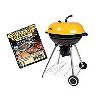 Grill schwarz XXL BBQ Balkon Garten Camping Picknick ✔ Rollen ✔ Deckel ✔ rund ✔ rollbar tragbar ✔ stehend grillen ✔ Grillen mit Holzkohle ✔ mit Rädern