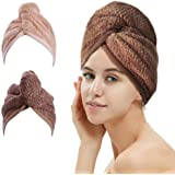 2 Pack Hair Drying Towels, Hair Wrap Towels, Super Absorbent Microfiber Hair Towel Turban with Button Design to Dry Hair Quic
