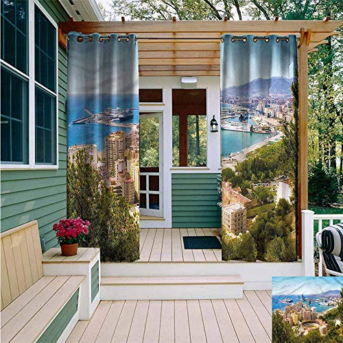 Outdoor Grommet Top Curtain Panel,Landscape Aerial View of Malaga,for Patio/Front Porch,W84x96L (Malaga Patios Los)