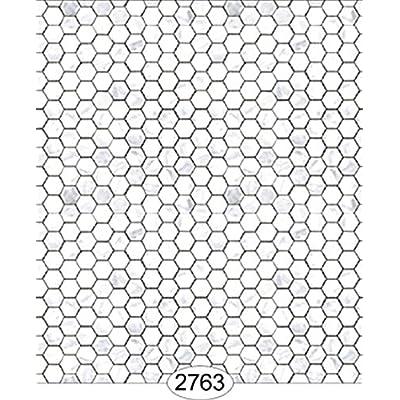 Dollhouse Wallpaper Carrara Marble Hexagon Tile White: Toys & Games