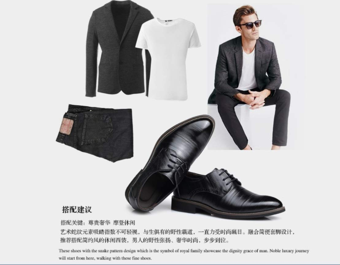 SHANGWU Men's Dress Shoes England Pointed Leather Tie Business Casual Retro Shoes Men's Wedding Shoes (Color : Black, Size : 46) by SHANGWU (Image #6)