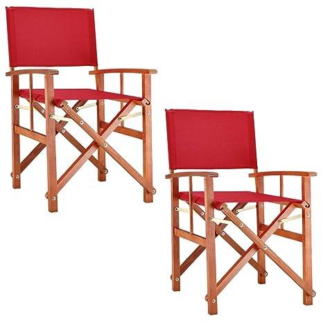 Deuba Set de 2X sillas Plegables Cannes Rojo de Madera de ...
