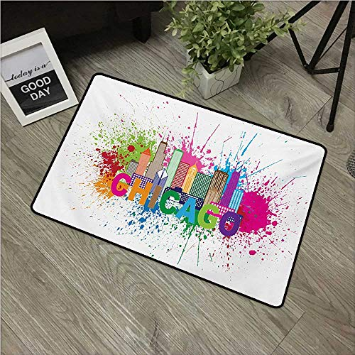 """Anzhutwelve Chicago Skyline,Kitchen Mat Splash of Colorful Paint Background with Text of Chicago and Cityscape W 20"""" x L 31"""" Inside Door mats Multicolor"""