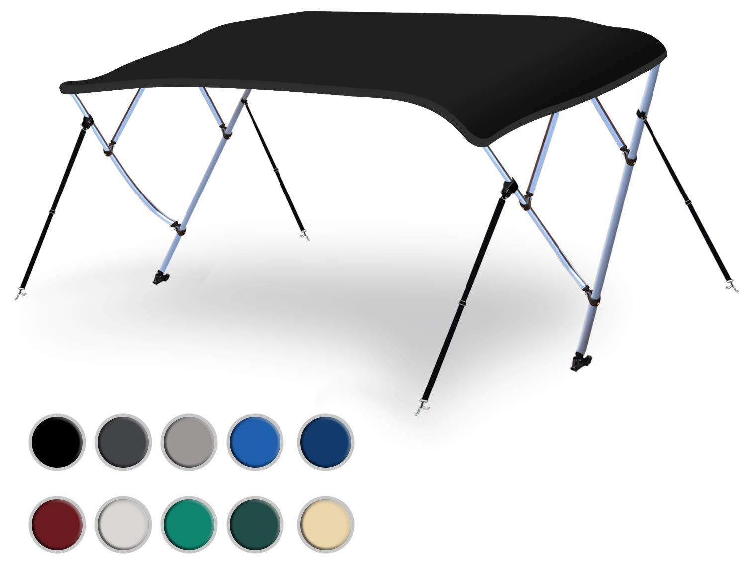 Naviskin Black 3 Bow 6'L x 46'' H x 54''-60'' W Bimini Top Cover Includes Mounting Hardwares,Storage Boot with 1 Inch Aluminum Frame