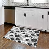 Bathroom Rug Carpet Trippy Linked Islamic Delicatewith Arasque Tile Influences Oriental Anti Bacterial,Latex W30''xH18''