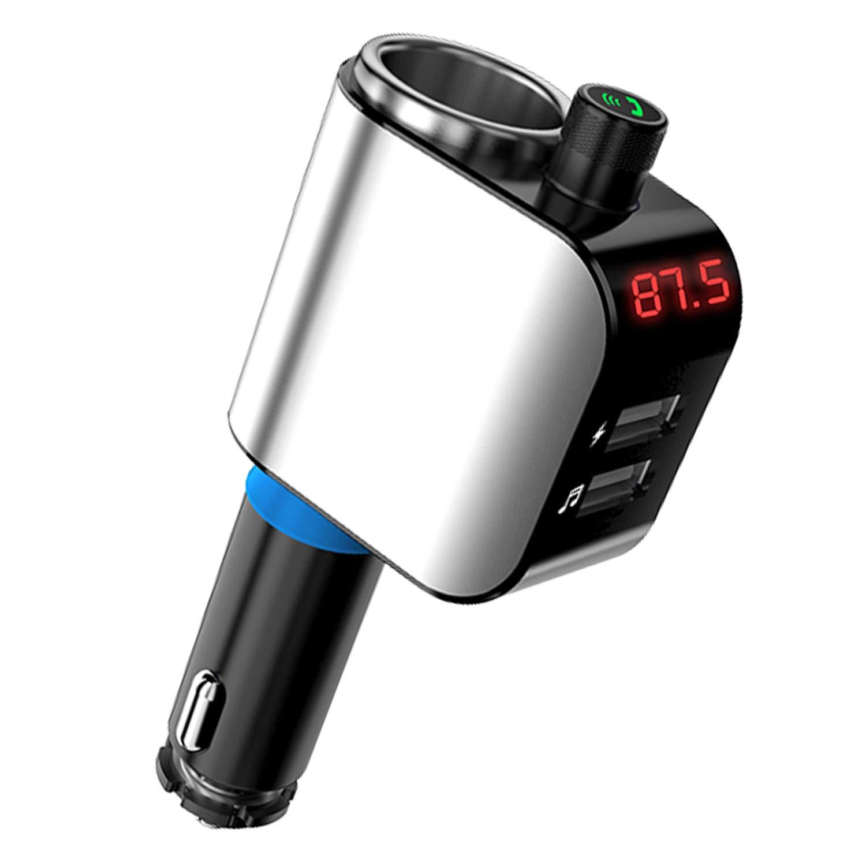 JINSERTA transmetteur FM Bluetooth, ré cepteur sans Fil Adaptateur Radio kit Voiture Mains Libres Affichage LED, Qc3.0 et Smart 2,4 A Double Ports USB, Carte TF, U Disque Lecteur MP3 Qc3.0et Smart 2 4A Double Ports USB