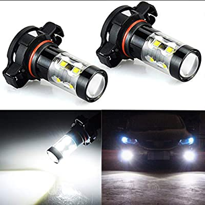 Extremely Bright Max 50W High Power 5202 5201 PS19W LED Fog Light Bulbs for DRL or Fog Lights, Xenon White: Automotive