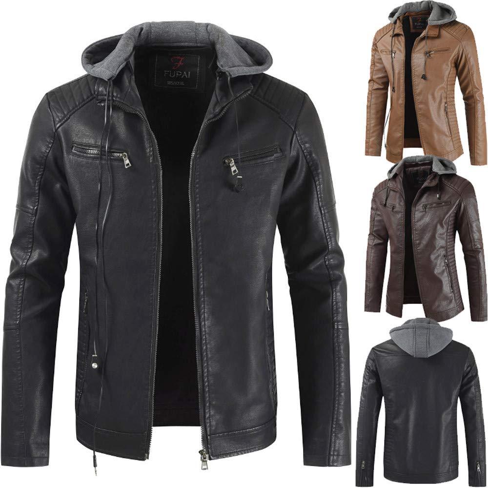 Amazon.com: YUTAO Mens Zip Up Faux Leather Jacket PU ...