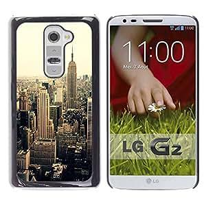 YOYOYO Smartphone Protección Defender Duro Negro Funda Imagen Diseño Carcasa Tapa Case Skin Cover Para LG G2 D800 D802 D802TA D803 VS980 LS980 - nueva york sepia viñeta amarilla