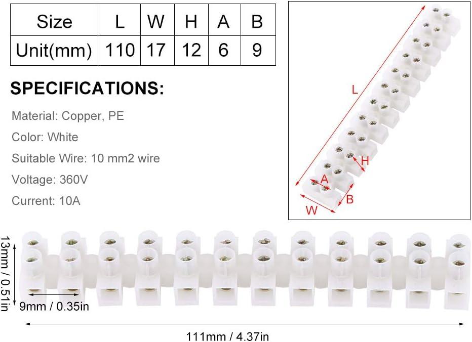 10 piezas 360 V 10 A doble fila bloque de terminales el/éctrico barrera 12 terminales tira bloque conector r/ápido
