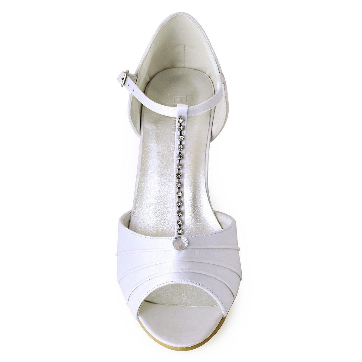 a9bad4a0b ... ElegantPark ElegantPark ElegantPark EL-035 Women Peep Toe T-Strap Pumps  Mid Heel Rhinestones ...