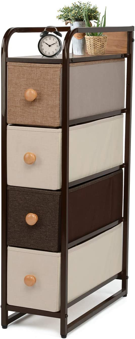 YOUNIS Dresser Storage Chest with 4 Drawers, Sturdy Steel Frame Closet Storage Drawers, Wood Top, Easy Pull Fabric Bins - Organizer Unit for Homes, Offices, Dormitories