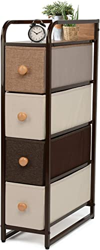 YOUNIS Dresser Storage Chest with 4 Drawers, Sturdy Steel Frame Closet Storage Drawers, Wood Top, Easy Pull Fabric Bins – Organizer Unit for Homes, Offices, Dormitories