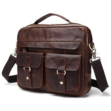 694c1abf38 Men s Retro genuine Leather Casual Crossbody Shoulder Messenger bag Handbag  (dark brown)