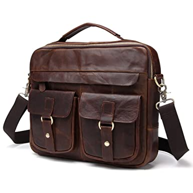 79d70c4dcb BAIGIO Men s Leather Messenger Bag Satchel Shoulder Bag Business Casual  Laptop Briefcase (Chocolate)
