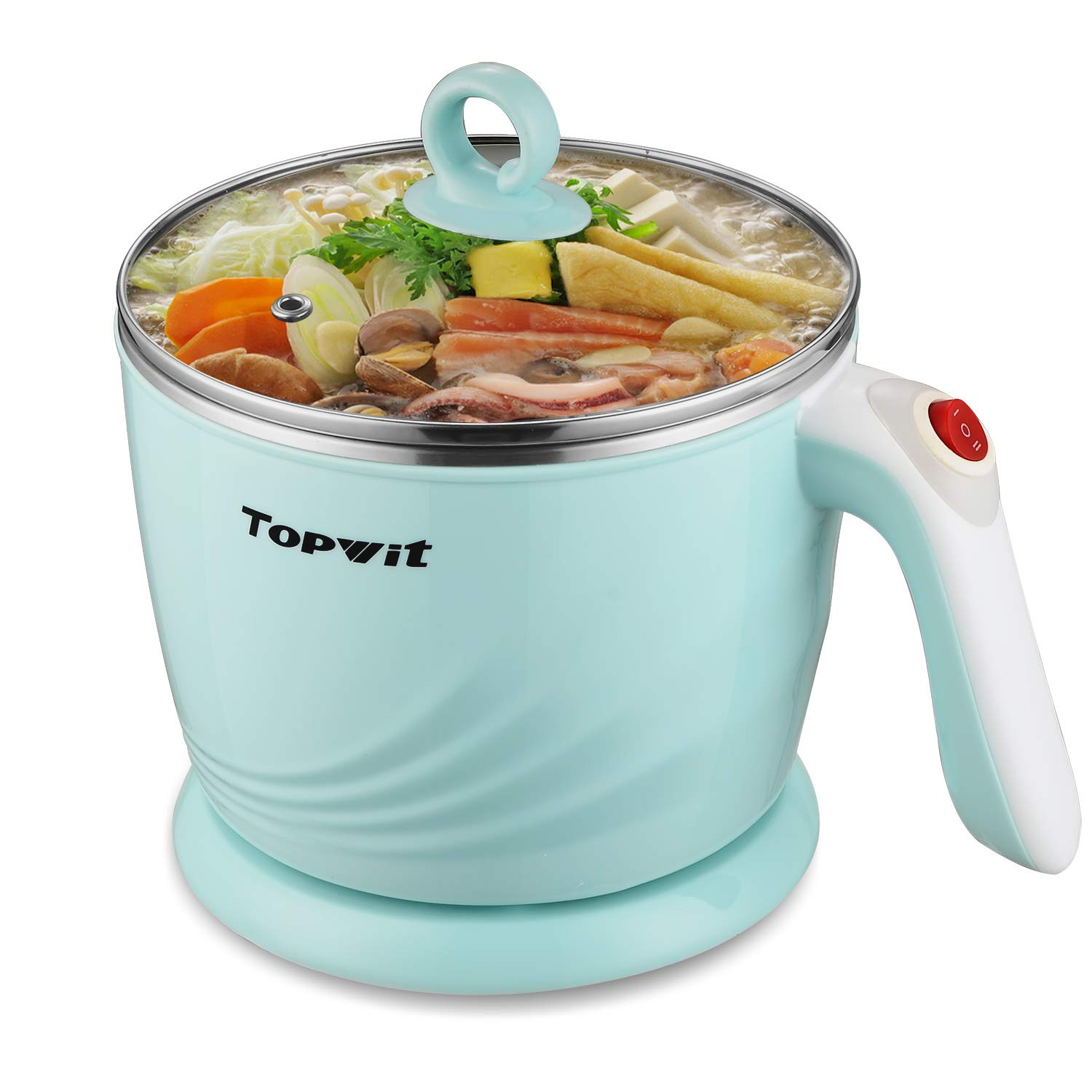 Topwit Electric Hot Pot Mini, Electric Cooker, Noodles Cooker, Electric Kettle with Multi-Function for Steam, Egg, Soup and Stew with Over-Heating Boil Dry Protection, Dual Power, 1.2L, Green
