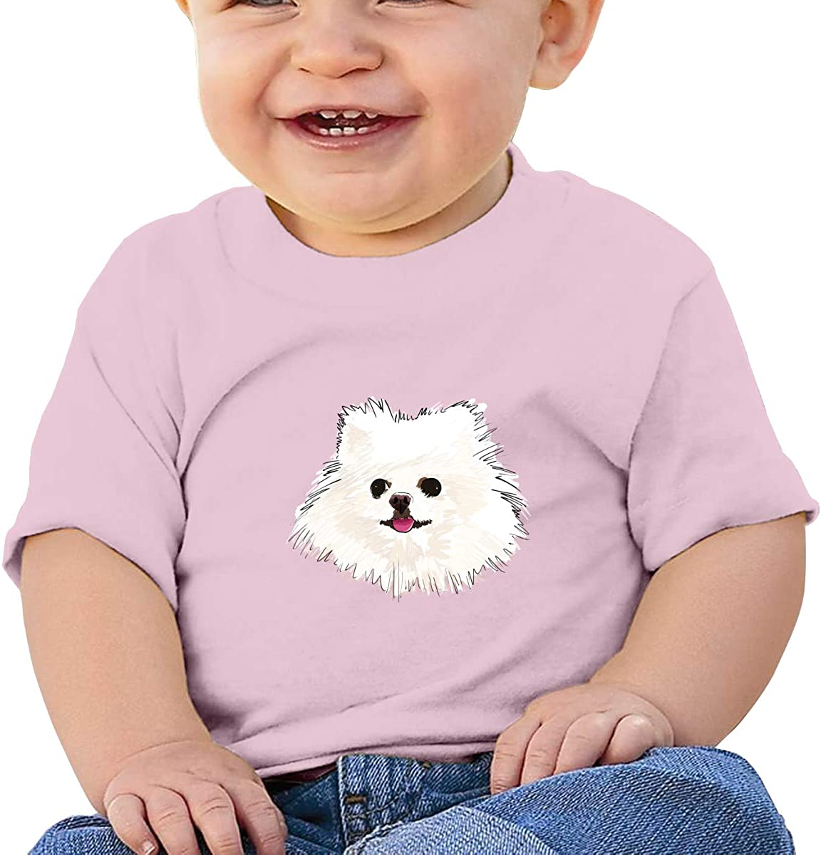 FOECBIR White Pomeranian Painting Baby Girls 100/% Cotton T Shirt Infant