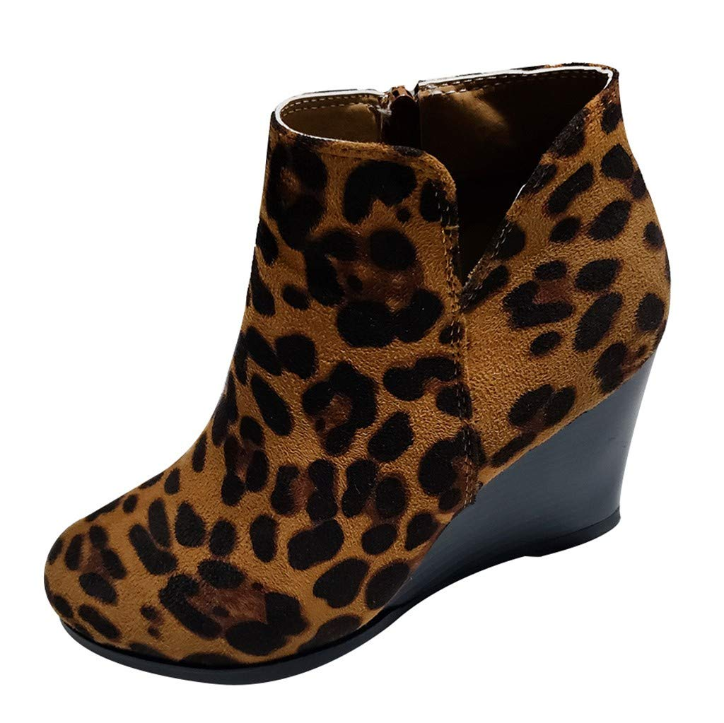 Womens Winter Boots Lataw Ladies Fashion Girls Oversize Leopard High Wedges Ankle Side Zipper Short Bootie Shoes Footwear by Lataw