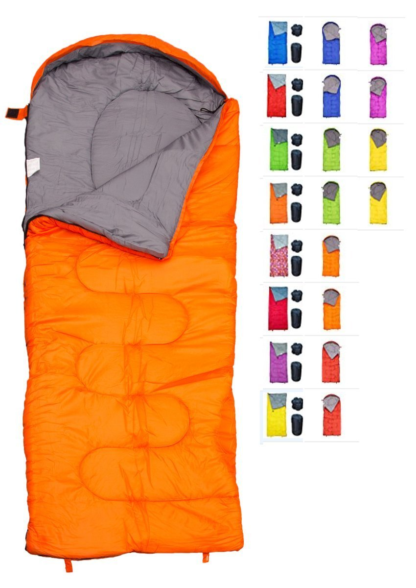 REVALCAMP Sleeping Bag for Cold Weather - 4 Season Envelope Shape Bags by Great for Kids, Teens & Adults. Warm and Lightweight - Perfect for Hiking, Backpacking & Camping (Orange - Envelope Right Zip) by REVALCAMP