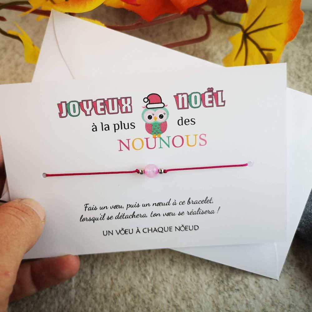 Id/ée cadeau de No/ël pour mamie et grand-m/ère enveloppe Bracelet porte-bonheur C/œur INOX Fabriqu/é en France Carte de voeux JOYEUX NOEL MAMIE CH/ÉRIE