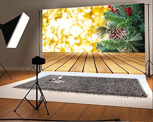 Laeacco 8x6ft Vinyl Photography Backdrop Christmas Theme Decoration Gold Bokeh Background Green Pine Branch Stripe Wood Floor Scene Photo Background Children Baby Adults Portraits Backdrop