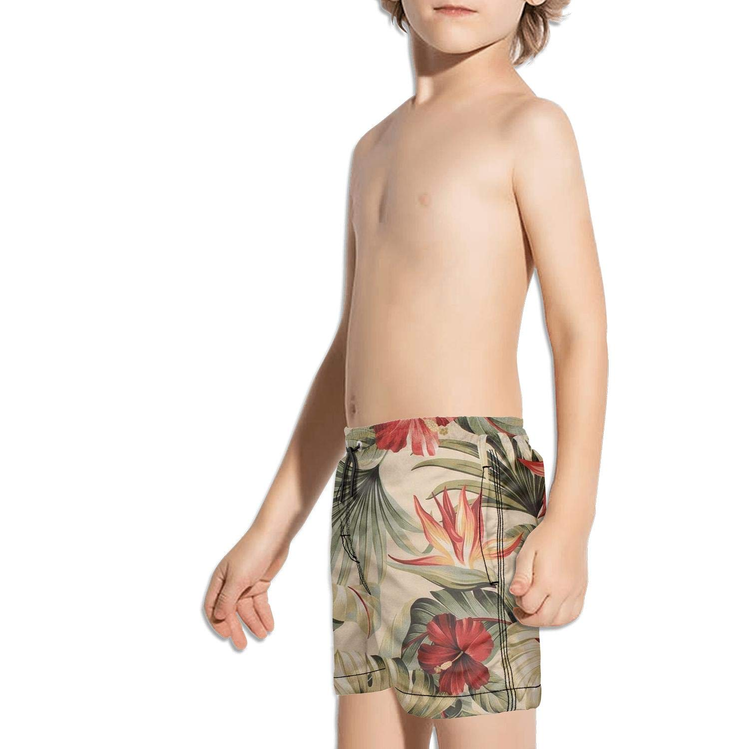 Etstk Hawaiian with Tropical Plants Flowers Kids Comfortable Beach Shorts for Schoolboys