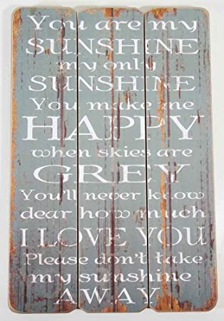 Wood Wall Art   Message Plaque   You Are My Sunshine Sign Blue