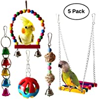 MQFORU 5pcs Bird Parrot Swing Toys with Hanging Bell Pet Bird Cage Hammock Swing Toy for Parakeets Cockatiels, Conures, Macaws, Parrots, Love Birds, Finches,African Parrot