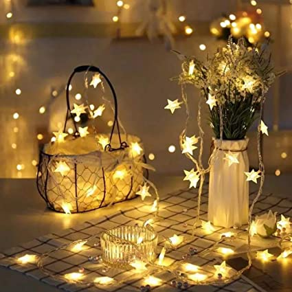 JIAMEIYI Star Fairy String Lights, 9.8ft 20 USB LEDs Warm White LED Twinkle  Lights for Indoor and Outdoor Decoration Lighting, Party Wedding